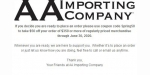 AA Importing Company coupon code